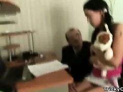 gorgeous brunette hair gets screwed by her teacher