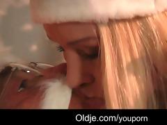 dirty santa gives naughty teenie a hard spank and