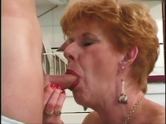 young boy copulates short-haired redhead 70 year