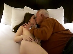 hawt woman gets a oral from a 82 year old man