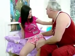 wicked teen brunette hair girl lets old man fuck