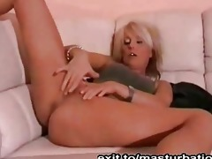 blonde german mother masturbates on sofa