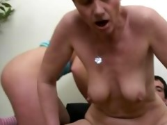 youthful and old beauties take turns riding cock