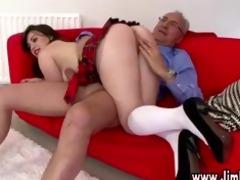 older chap spanks naughty schoolgirl