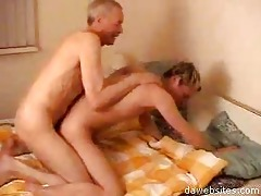 old fart fucking his younger friend in doggy style