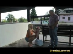old stud blackmails cute blond floozy for fuck