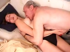 skinny young beauty drilled by old man