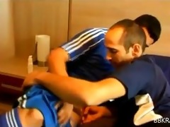 hot hung hairy lad in footie gear acquires sucked