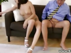 sexy young babe getting pussy screwed by this