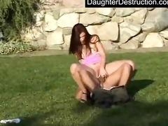 pleasing legal age teenager daughter fucks like a