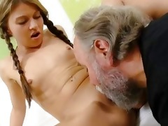 anna has her shaved pussy eaten out by her older