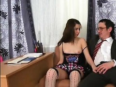 tricky teacher seducing charming student