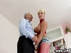 busty golden-haired in nylons acquires off