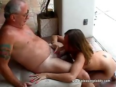 cutie receives throat drilled by old dude